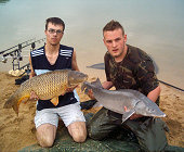 Common carp - 27.6 Lbs and sturgeon - 39 Lbs